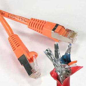 Image of 100 ft ORANGE CAT5E Shielded Patch Cable