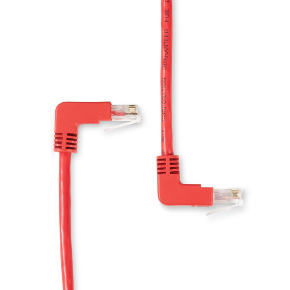 Image of 1 ft. CAT5E 90 Down to 90 UP - RED
