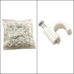 Cable Clips - White - 100 pieces per bag