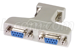 DB9 Male to (2) DB9 Females Y Adapter