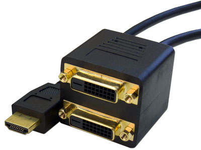1 ft. HDMI Male to (2) DVI-D Females
