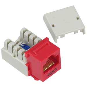 Image of RED CAT5E 110-Type Keystone Jack