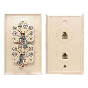 2 port rj12 6c modular wallplate ivory only 5 00 rh computercableinc com Wiring Cat5 to RJ11 Plug RJ11 Wiring Color Code