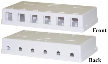 6-port RJ45 Surface Mount Block