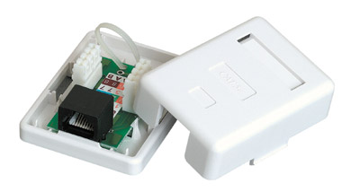 Image of 1-port SurfaceMount Box w/C5E Jack-WHITE