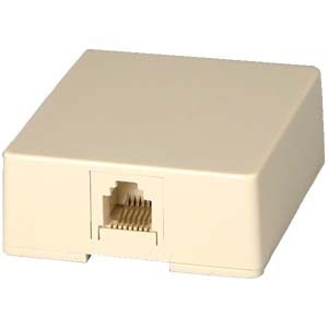 Image of 1-port RJ12 6C Surface Mount Jack-IVORY