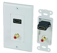 Image of HDMI + 1 RCA (Red) Feed-Thru Wallplate