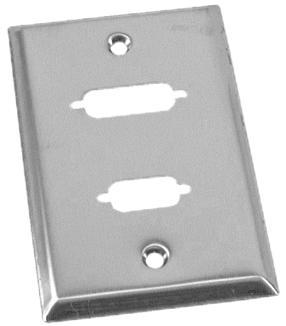 DB9 + DB15 (or DVI) Stainless Wallplate